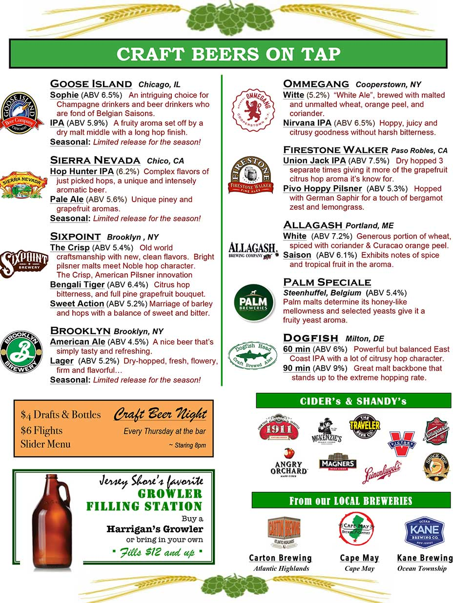 Harrigan's Pub - Craft Beer Menu Page 1