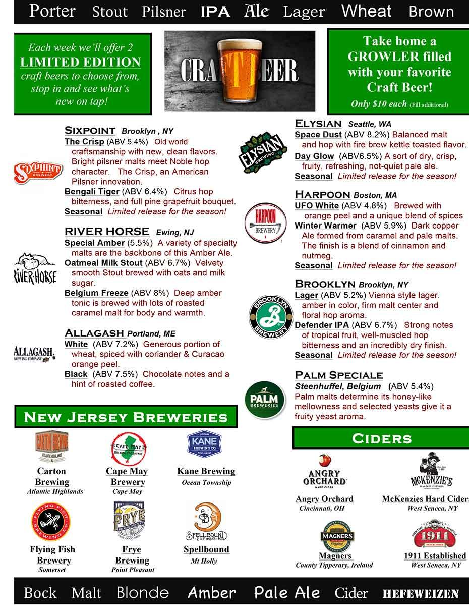 Harrigan's Pub - Craft Beer Menu Page 1